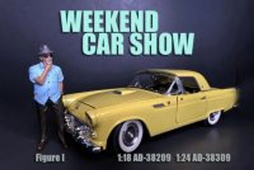 Weekend Car Show Figure I, Brown and Blue - American Diorama 38309 - 1/24 scale Figurine - Diorama Accessory