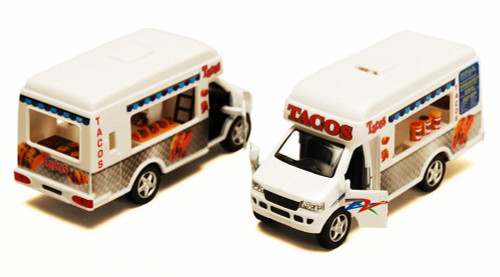 "Taco Truck, White - Kinsmart 5255D - 5"" Diecast Model Toy Car (Brand New, but NOT IN BOX)"