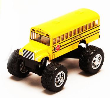 "School Bus Big Wheel, Yellow - Kinsmart 5108D - 5"" Diecast Model Toy Car"