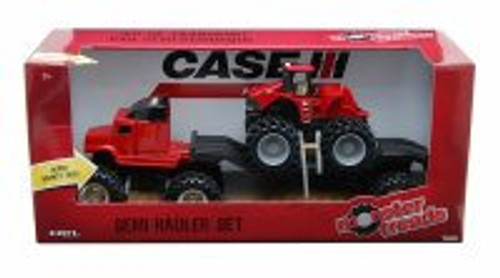 Semi Hauler Set, Red Semi & Red Tractor - Tomy ERTL Monster Treads 37757A