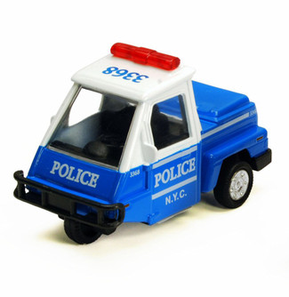 NYC Metro Police Mini Car, Blue & White - Showcasts 2180DNY - 4 Inch Scale Diecast Model Replica