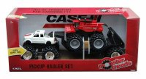 Pickup Hauler Set, White Pickup & Red Tractor - Tomy ERTL Monster Treads 37757A