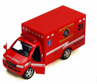 """Rescue Team Fire Dept. Ambulance, Red - Kinsmart 5259D - 5"""" Diecast Model Toy Car"""
