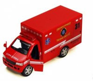 "Rescue Team Fire Dept. Ambulance, Red - Kinsmart 5259D - 5"" Diecast Model Toy Car"