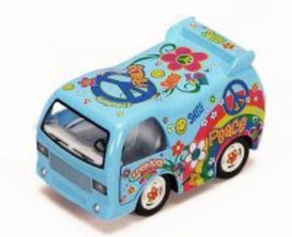 Peace Decal Dream Car, Blue - Kinsmart 4102 - Diecast Model Toy Car