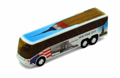 NYC Coach Bus w/ Empire State Building, White - Showcasts 9803DNY - 6 Inch Scale Diecast Model Replica