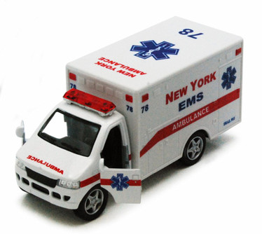 "New York Rescue Team Ambulance, White - Kinsmart 5259DNY - 5"" Diecast Model Toy Car"