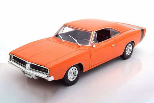 1969 Dodge Charger R/T Hardtop, Orange - Maisto 31387OR - 1/18 scale Diecast Model Toy Car