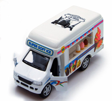 Ice Cream Truck, White - Kinsmart 5253D - 5 Inch Scale Diecast Model Replica (Brand New, but NOT IN BOX)
