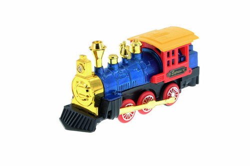 Friction Powered Locomotive, Blue w/ Red - 32322D - Diecast Model Toy Car