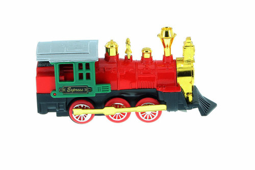 Friction Powered Locomotive, Red w/ Green - 32322D - Diecast Model Toy Car
