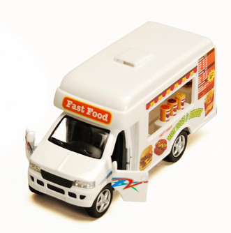 Fast Food Truck, White - Kinsmart 5257D - 5 Inch Scale Diecast Model Replica