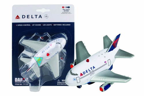 Delta Pullback Plane with Lights and Sound, White - Daron TT153 - Plastic Toy Plane