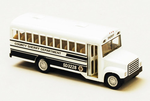 "County Sheriff Bus, White - Kinsmart 5107DP - 5"" Diecast Model Toy Car"