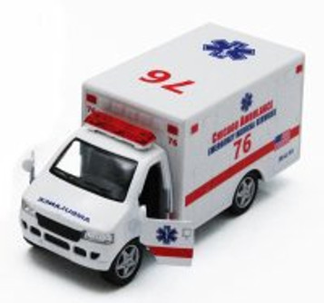 "Chicago Rescue Team Ambulance, White - Kinsmart 5259DCG - 5"" Diecast Model Toy Car (Brand New, but NOT IN BOX)"