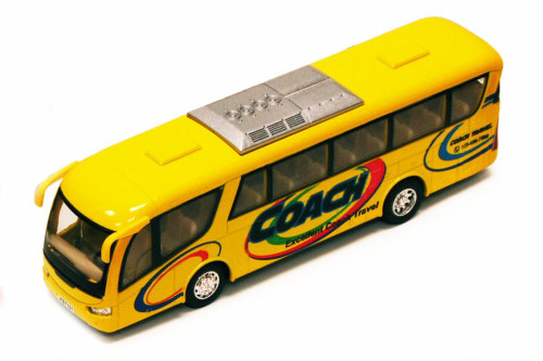 "Coach Bus, Yellow  - Kinsmart 7101D - 7"" Diecast Model Toy Car (Brand New, but NOT IN BOX)"