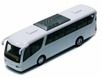 "Coach Bus, White - Kinsmart 7101DW - 7"" Diecast Model Toy Car"