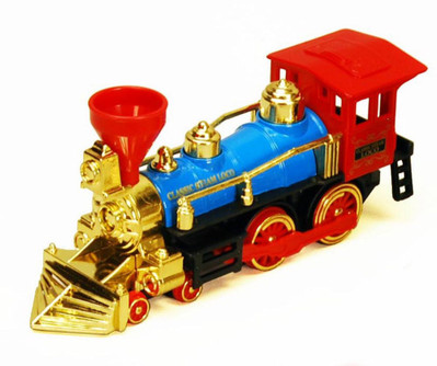Classic Steam Locomotive Train, Blue with Red & Gold - Showcasts 9935D - 7 Inch Scale Diecast Model Replica (Brand New, but NOT IN BOX)