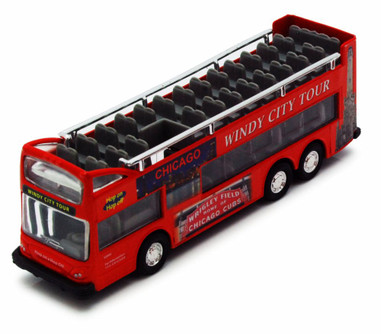 Chicago Sightseeing Double Decker Bus Open Top, Red - Showcasts 2168CG - 6 Inch Scale Diecast Model Replica (Brand New, but NOT IN BOX)