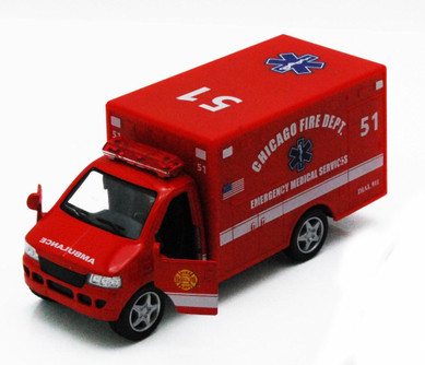 """Chicago Rescue Team Ambulance, Red - Kinsmart 5259DCG - 5"""" Diecast Model Toy Car (Brand New, but NOT IN BOX)"""