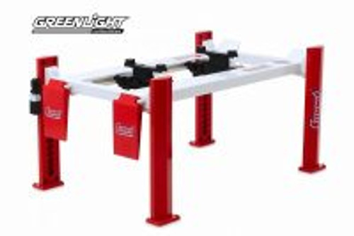 Adjustable Four-Post Lift - Summit Racing Equipment, Red - Greenlight 13549 - 1/18 scale Diecast Accessory