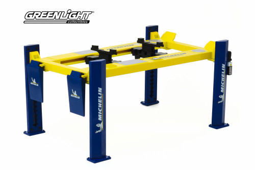 Adjustable Four-Post Lift - Michelin Tires, Blue and Yellow - Greenlight 13554 - 1/18 scale Diecast Accessory