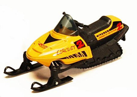 """5.5"""" Pullback Snowmobile, Yellow - 9918D - Diecast Model Toy Car"""