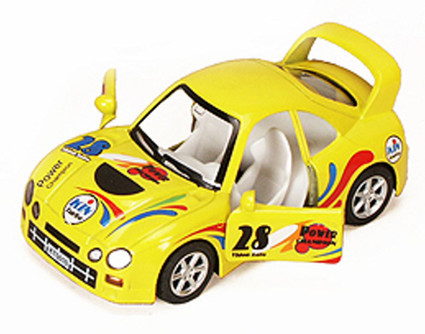 """Turbo Racer with Decals #28, Yellow - Kinsmart 5008/10DH - 5"""" Diecast Model Toy Car (Brand New, but NOT IN BOX)"""