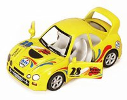"Turbo Racer with Decals #28, Yellow - Kinsmart 5008/10DH - 5"" Diecast Model Toy Car (Brand New, but NOT IN BOX)"