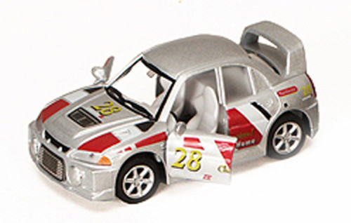 """Turbo Racer with Decals #28, Silver - Kinsmart 5008/10DH - 5"""" Diecast Model Toy Car (Brand New, but NOT IN BOX)"""