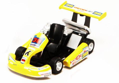 "Turbo Go Kart #38, Yellow - Kinsmart 5102D - 5"" Diecast Model Toy Car (Brand New, but NOT IN BOX)"