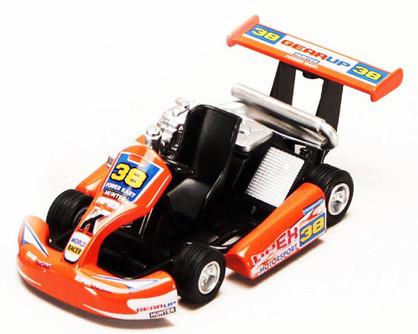 """Turbo Go Kart #38, Orange - Kinsmart 5102D - 5"""" Diecast Model Toy Car (Brand New, but NOT IN BOX)"""