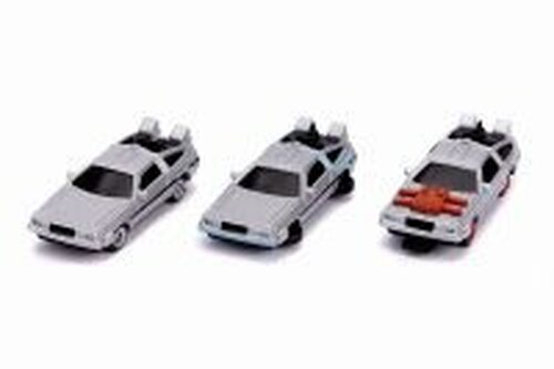 Back To The Future Time Machines 3-Pack, Gray - Jada 31583 - 1/65 scale Diecast Model Toy Car