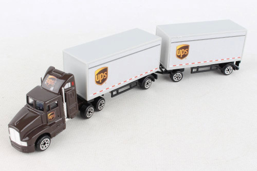 UPS Tandem Tractor Trailer, Brown and White - RealToy RT4345 - 1/87 scale Diecast Model Toy Car