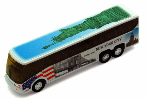 I Love New York Coach Bus, w/Statue of Liberty decals - 9803D-ILNY - Collectible Model Toy Car