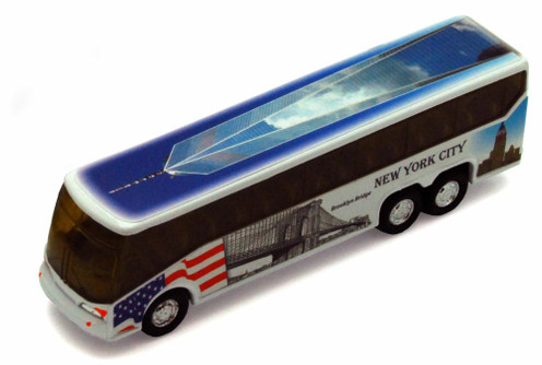 I Love New York Coach Bus, w/Freedom Tower decals - 9803D-ILNY - Collectible Model Toy Car