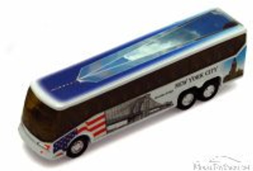 NYC Coach Bus w/ Freedom Tower, White - Showcasts 9803DNY - 6 Inch Scale Diecast Model Replica