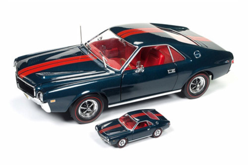 1968 AMC AMX with a 1/64 scale replica by Johnny Lightning, Blue - Auto World AMM1124 - 1/18 scale Diecast Model Toy Car
