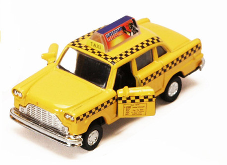 Yellow City Taxi Cab, Yellow - Showcasts 95892 - 4.5 Inch Scale Diecast Model Replica