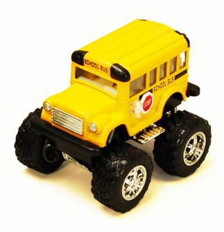 Funny School Bus Big Wheel, Yellow - Kinsmart 4004DB - 3.75 Inch Scale Diecast Model Replica