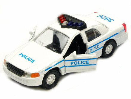 NYC Police Car Series, White - Showcasts 9985/2D - 5 Inch Scale Diecast Model Replica