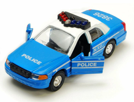 NYC Police Car Series, Blue & White - Showcasts 9985/2D - 5 Inch Scale Diecast Model Replica