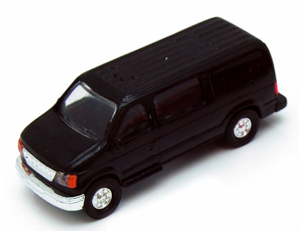 City Passenger Van, Black - Showcasts 9951/4D - 4.75 Inch Scale Diecast Model Replica