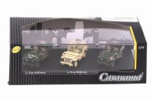 1/4 Ton Military Vehicle 3 Car Set, Asstd - Cararama 71314M - 1/72 scale Diecast Model Toy Car