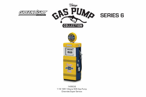 1951 Chevy Wayne 505 Gas Pump, Super Service - Greenlight 14060B/24 - 1/18 scale Diecast Model Accessory