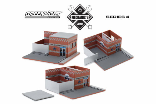 Mechanic's Corner Hot Pursuit Central Command City of Chicago Police Department, Orange Brick - Greenlight 57041 - 1/64 scale Diecast Replica