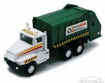 Garbage Truck - White w/Green Compactor - Showcasts 9911DG - 6 Inch Scale Diecast Model Replica