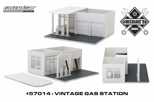 Vintage Gas Station Create Your Own, White - Greenlight 57014 - 1/64 scale Diecast Model Toy Car