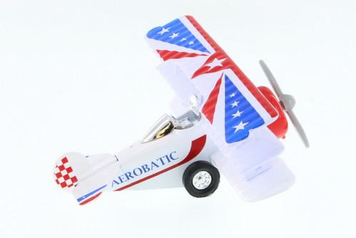 Aerobatic Classic Bi-Plane, White, Red & Blue - Showcasts 9996/7 - 4.5 Inch Diecast Aircraft Replica