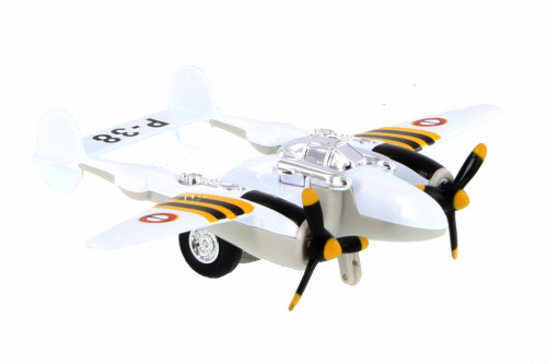 P-38 WWII Pullback Fighter, White - Showcasts 508D - Diecast Model Toy Car